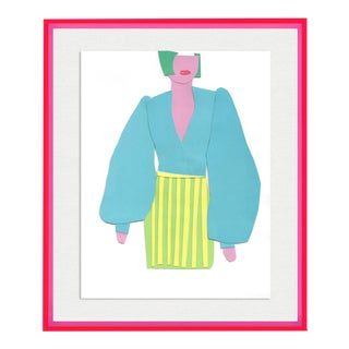 Paper Doll by Virginia Chamlee in Neon Pink Acrylic Shadowbox, Medium Art Print For Sale