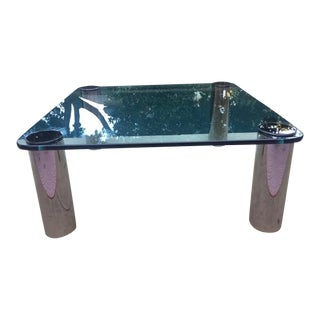 Vintage Glass and Chrome Coffee Table by Pace Collection For Sale
