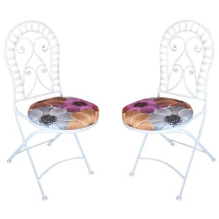 Scrolling Cast Iron Folding Patio Outdoor Chair- A Pair For Sale