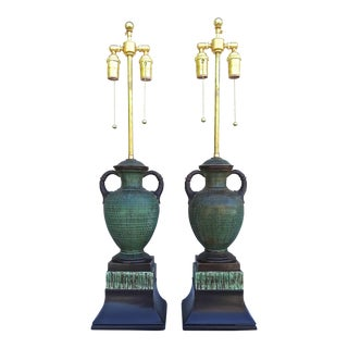 Italian 1940s Ugo Zaccagnini Art Pottery Table Lamps - a Pair For Sale