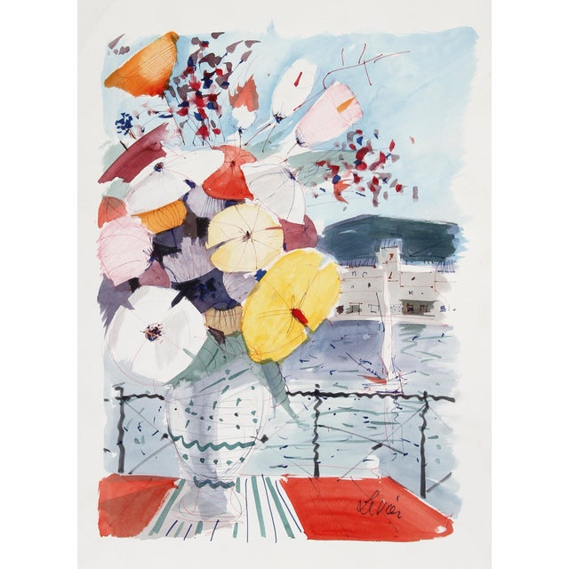 Charles Levier, Bouquet of Flowers on Balcony, Watercolor For Sale