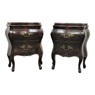 Italian Country French Style Bombay Pine Nightstands - a Pair