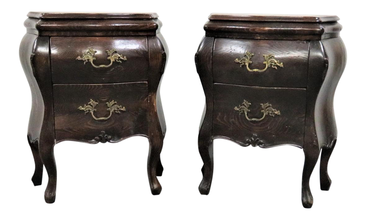 Italian Country French Style Bombay Pine Nightstands A Pair