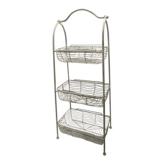 Mid Century Vintage 3 Tiered Wire Basket Rack For Sale