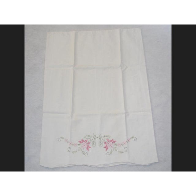 1950's Hand Embroidered Pillow Cases - A Pair For Sale - Image 6 of 9