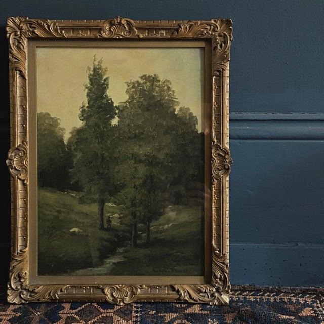 George A. Traver, oil on canvas landscape (ca. 1897). Oil painting on artist board, landscape with the figure of a man by...