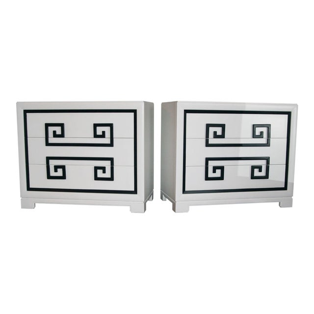 1940s Hollywood Regency Kittinger Greek Key Chests - a Pair For Sale
