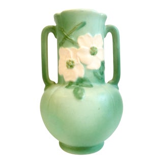 20th Century Art Nouveau Weller Pottery Hand-Painted Two-Handle Pottery Vase For Sale