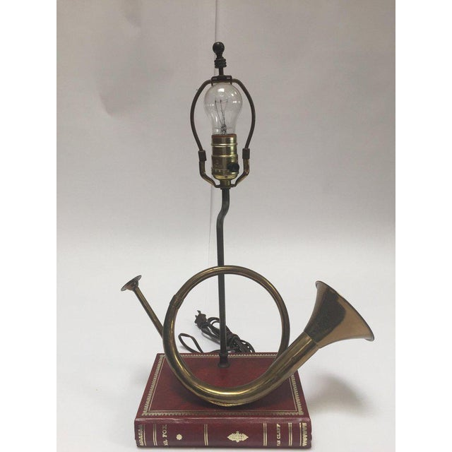 Robert Abbey Vintage Brass Looped Hunter's Horn Bugle Made Into a Table Lamp by Robert Abbey For Sale - Image 4 of 13