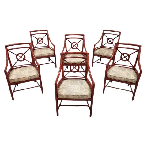 Set of 6 Italian Mid Century Red Bamboo Chippendale Lounge Dining Chairs For Sale