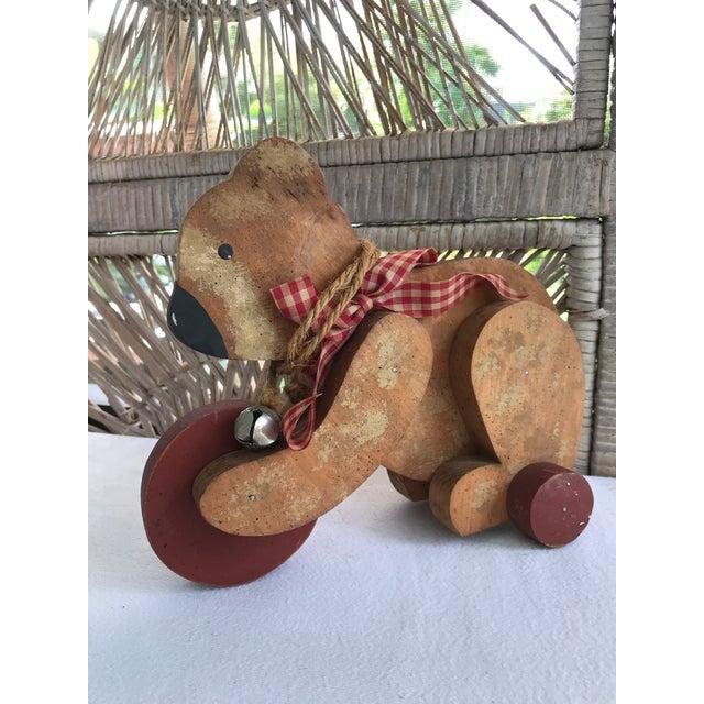 Vintage Primitive Wood Teddy Bear on Rolling Wheels For Sale - Image 10 of 11