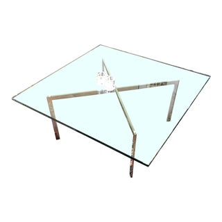 1960s Mid-Century Modern Mies Van Der Rohe for Knoll Barcelona Glass Coffee Table For Sale