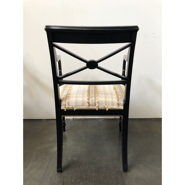 Regency Style Black and Gold Painted Arm Chairs - a Pair For Sale In Raleigh - Image 6 of 13