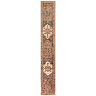 Antique Persian Tabriz Long and Narrow Runner Rug - 3′ × 17′4″ For Sale