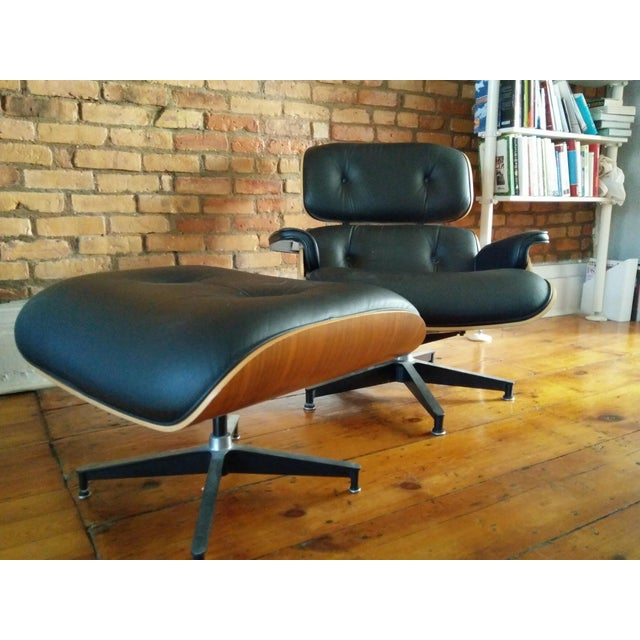 Eames Lounge Walnut & Black Leather Chair & Ottoman - Image 3 of 8