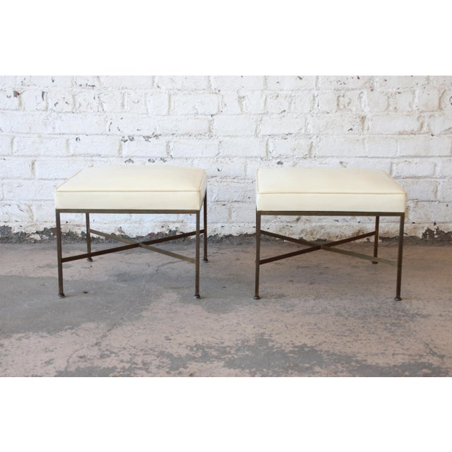 Paul McCobb for Directional X-Base Brass and Upholstered Stools or Benches, Pair For Sale - Image 11 of 11