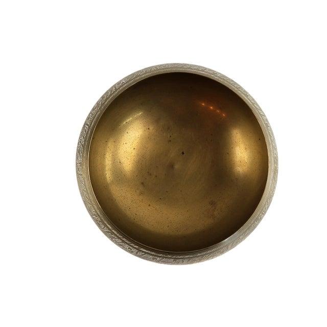 Metal Vintage Indian Hand Tooled Etched Solid Brass Pedestal Bowl For Sale - Image 7 of 10
