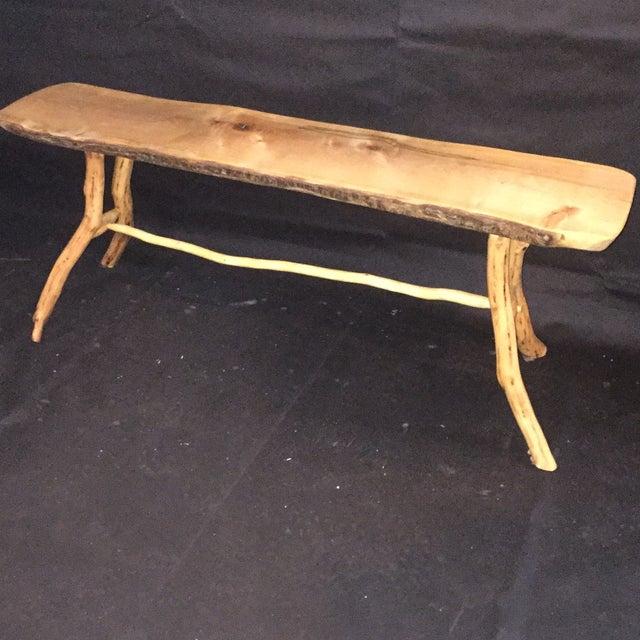 Handmade Rustic Natural Pine Bench - Image 4 of 7