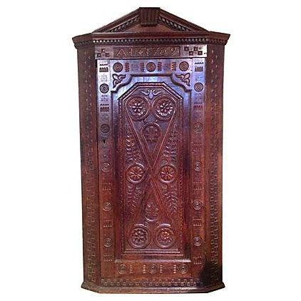 1709 Carved English Corner Cabinet - Image 1 of 4