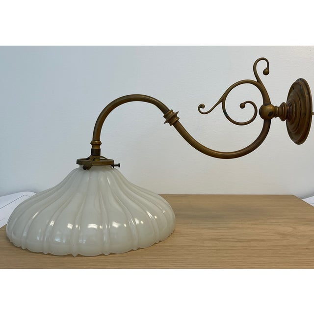 Vintage 1900s Wall Sconce in Antiqued Brass With Milk Glass Shade For Sale - Image 12 of 12
