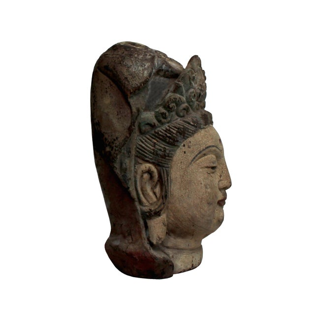 2000 - 2009 Vintage Rustic Wooden Carved Kwan Yin Bodhisattva Head Statue For Sale - Image 5 of 8