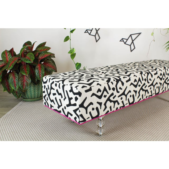 Glass Black & White Ottoman on Glass Legs, Black & White Bench For Sale - Image 7 of 10