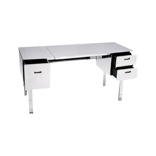 Polished Aluminum Folding Campaign Desk - Image 1 of 4