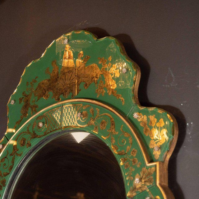 Mid-Century Modern Emerald Reverse Églomisé Mirror With Gilt Detailing For Sale - Image 9 of 10