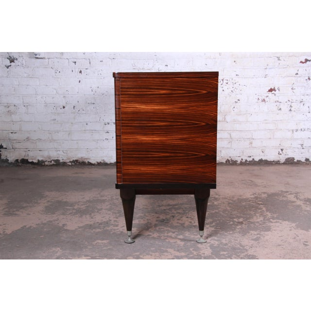 French Art Deco Macassar Ebony Credenza or Bar Cabinet by N.F. Ameublement, 1966 For Sale - Image 11 of 13