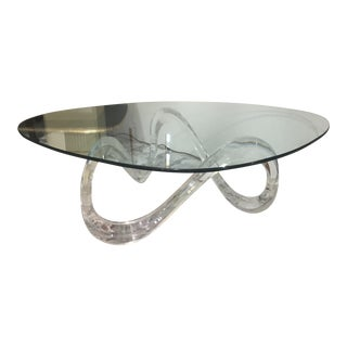 Vintage Lucite Ribbon Coffee Table For Sale