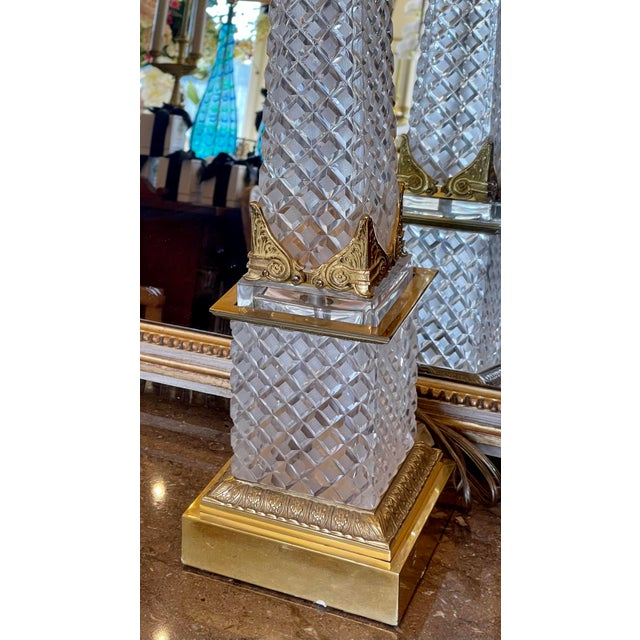 """Massive Baccarat French Crystal Obelisk Table Lamp. It measures 48"""" tall. 33"""" to the top of the obelisk."""