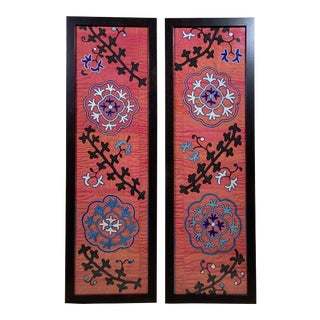 Antique Silk Suzani Wall Hangings - a Pair For Sale