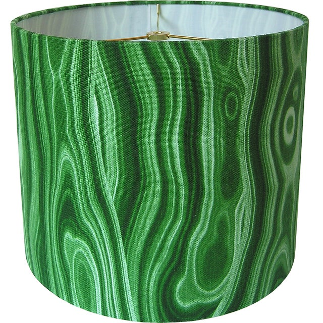 Made to Order Malachite Green Large Drum Shade For Sale - Image 4 of 4