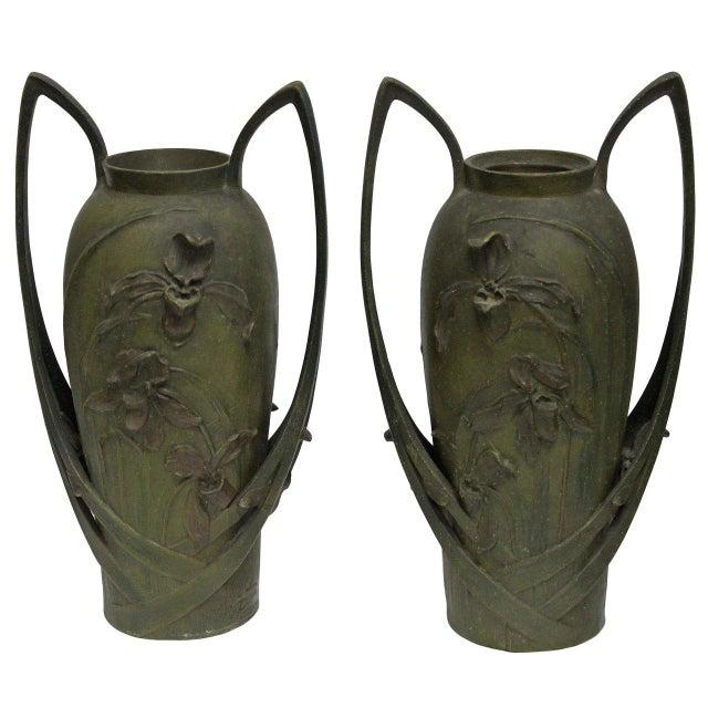 Pair of Art Nouveau Iris Vases by Blanche Poccard De Saintilau, 1902 For Sale - Image 11 of 11