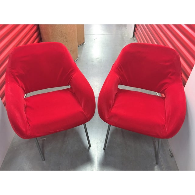 Red Velvet Chairs - Pair - Image 2 of 6