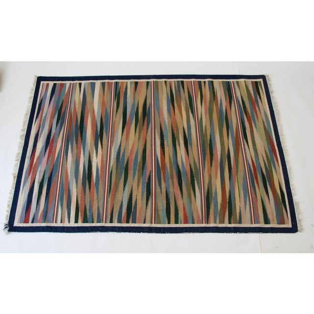 "Multicolor Dhurrie Area Rug - 6' X 8'6"" - Image 2 of 7"