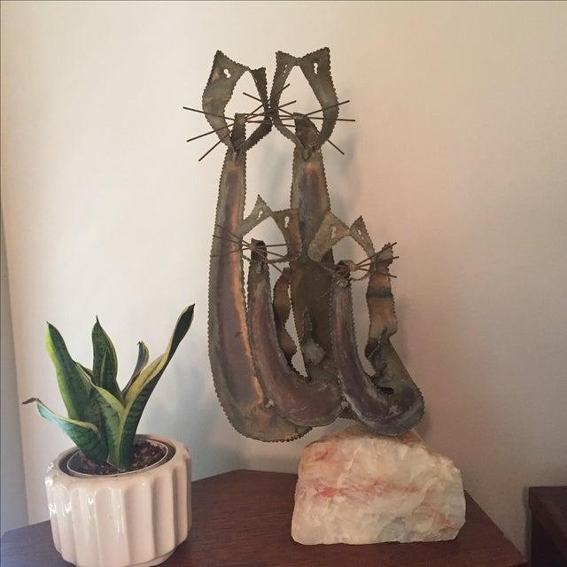 Brustalist-Style Brass Cat Sculpture - Image 3 of 6
