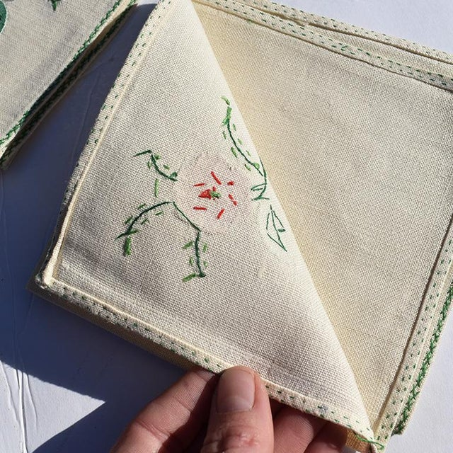 Boho Chic Cream Hand Embroidered Floral Cloth Dinner Napkins in Blue Green Pink Orange - Set of 6 For Sale - Image 3 of 7