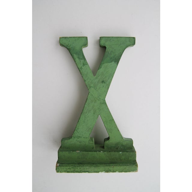 Cottage Vintage Green Painted Wood Letter X For Sale - Image 3 of 3