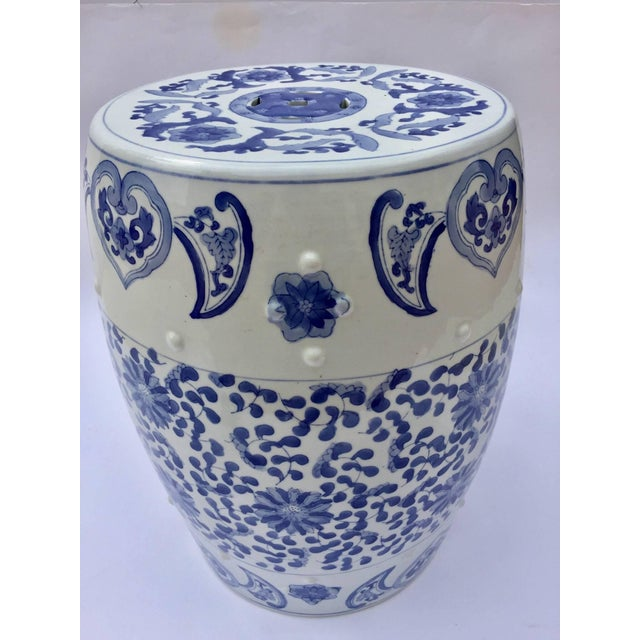 Ceramic Chinese Porcelain Garden Seat in Blue and White Floral Motif For Sale - Image 7 of 13