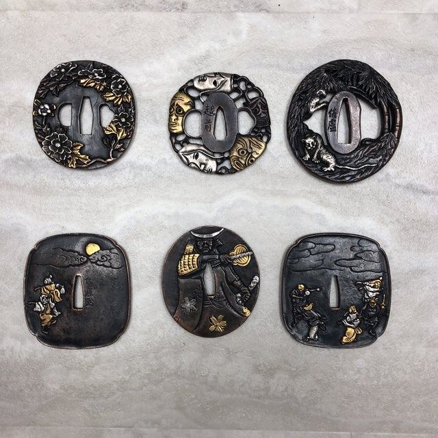 Vintage Japanese Tsuba's - Set of 6 For Sale - Image 12 of 12