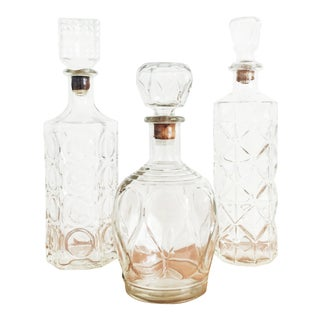 Collection of Vintage Glass Decanters - Set of 3