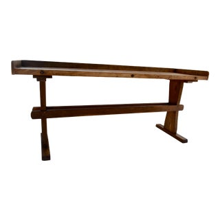 Pine Trestle-Based Work Table For Sale