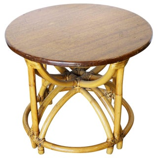 Restored Five Strand Hour Glass Rattan Coffee Table For Sale