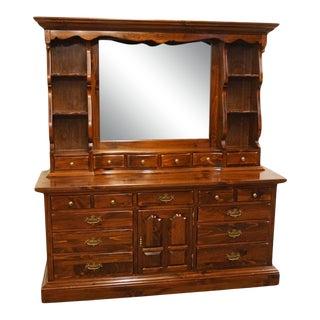 Ethan Allen Antiqued Pine Old Tavern Dresser With Bookcase For Sale