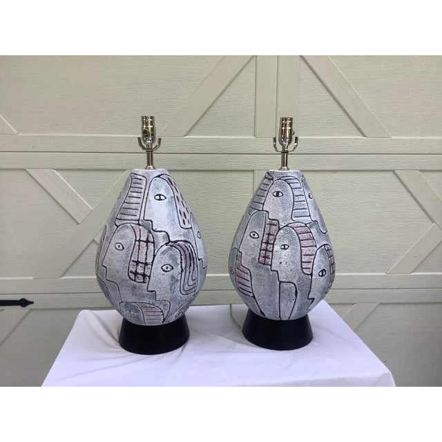 Bitossi Midcentury Modern Large Scale Lamps, a Pair For Sale - Image 9 of 11