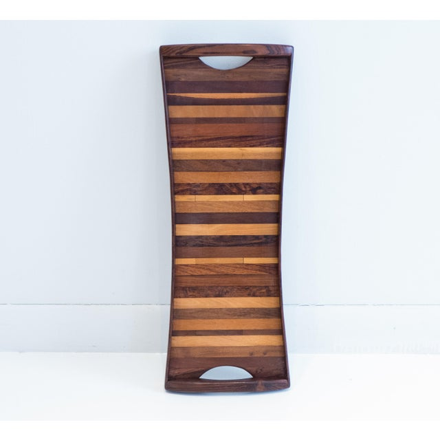 Nicely proportioned, butterfly-shaped tray with cocobolo sides and an interior pattern created out of strips of exotic...