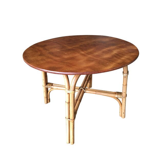 "Restored Large Round ""X"" Base Rattan Coffee Table With Oak Top For Sale In Los Angeles - Image 6 of 6"