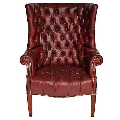 Tufted Leather Wingback Chair - Image 1 of 8