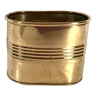Mid Century Brass Letter Holder or Pencil Can For Sale